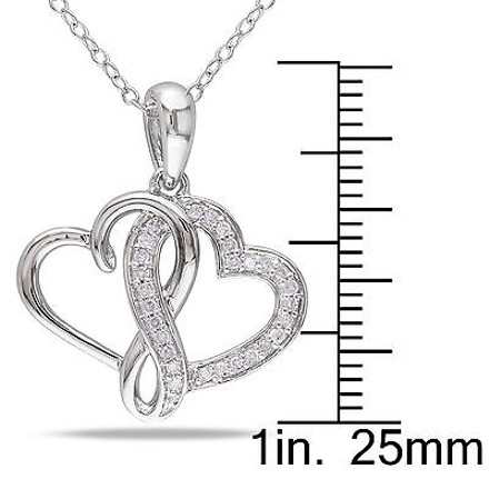 Other Sterling Silver 17 Ct Diamond Heart Swivel Crossover Infinity Pendant Necklace