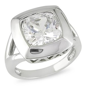 Silver 6 12 Ct Tgw Cushion Crystal 12x12mm Ring