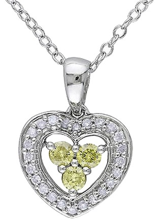 Other Sterling Silver 13 Ct Yellow And White Diamond Hear Love Pendant Necklace