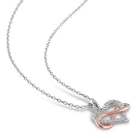 Other Sterling White Pink Silver 110 Ct Diamond Heart Infinity Pendant Necklace I2i3