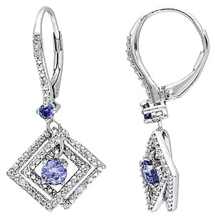 Sterling Silver Diamond And 34 Ct Tgw Tanzanite Leverback Earrings Gh I1i2