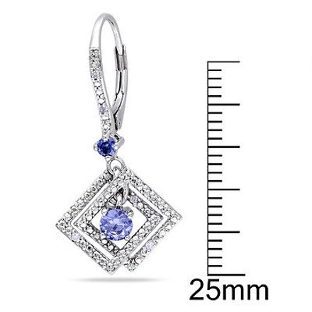 Other Sterling Silver Diamond And 34 Ct Tgw Tanzanite Leverback Earrings Gh I1i2