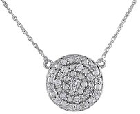 Other 10k White Gold 14 Ct Diamond Tw Geometric Fashion Pendant Necklace Gh I2i3