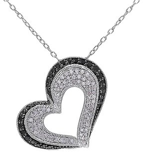 Other Sterling Silver 12 Ct Black White Diamond Heart Love Pendant Necklace Gh I2i3