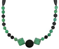 Other Amour 700ct Malachite And Onyx 40 Inch Fancy Triangular Fashion Necklace Strand