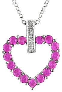Other Sterling Silver Diamond And 1 13 Ct Pink Sapphire Heart Love Pendant Necklace
