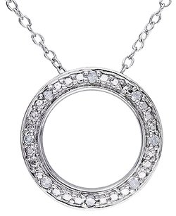 Other Sterling Silver 110 Ct Diamond Tw Circle Pendant Necklace I3