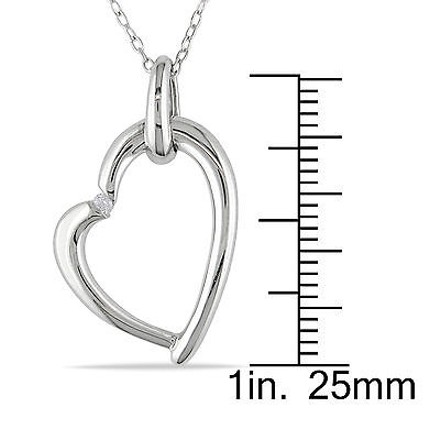 Other Sterling Silver Diamond Heart Love Pendant Necklace Gh I2i3