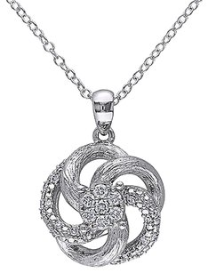 Other Sterling Silver 14 Ct Diamond Flower Fashion Nature Pendant Necklace Gh I2i3