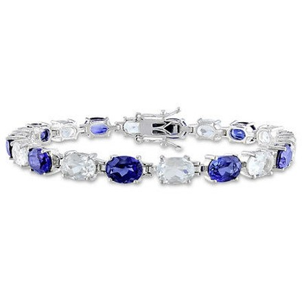 Other Sterling Silver 21 34 Ct Tgw Blue Sapphire White Topaz Bracelet 7.25 Inch