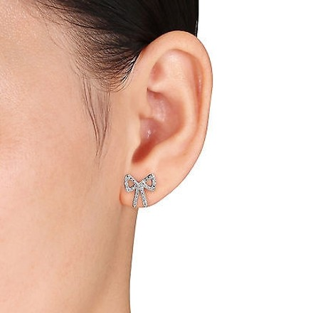 Other Sterling Silver Diamond Bow Fashion Stud Earrings Gh Hij I3
