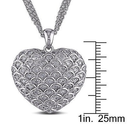 Other Sterling Silver 1 Ct Diamond Tw Heart Love Pendant Necklace Gh I3