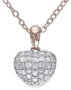 Pink Sterling Silver 14 Ct Diamond Tw Heart Love Pendant Necklace Gh I3