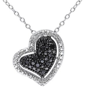 Other Sterling Silver 110 Ct Black Diamond Tw Heart Love Pendant Necklace