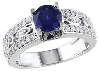 Other Sterling Silver 1 34ct Tgw Blue And White Sapphire Geometric Engagement Ring