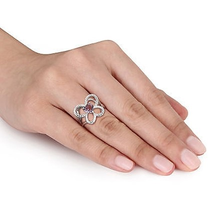 Other Sterling Silver 34 Ct Tgw Amethyst Fashion Love Heart Butterfly Ring