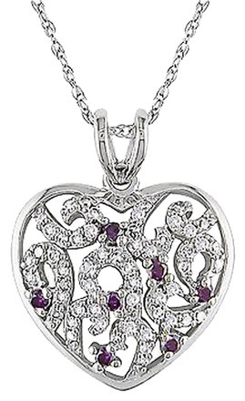 Other 10k White Gold 14 Ct Pink And White Diamond Heart Pendant Necklace Gh I2i3