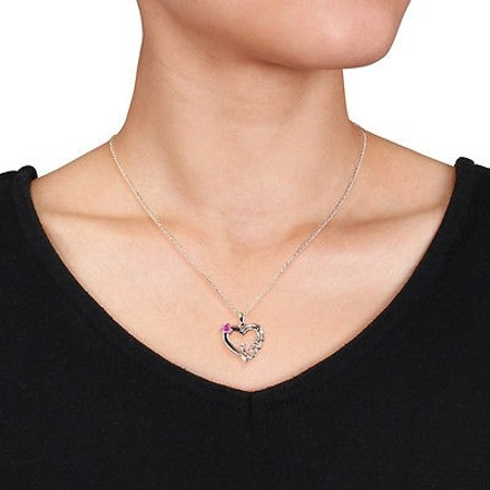 Other Sterling Silver 13 Ct Created Pink Sapphire Heart Love Pendant Necklace