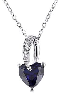 Sterling Silver Diamond And 1 78 Ct Blue Sapphire Heart Love Pendant Necklace