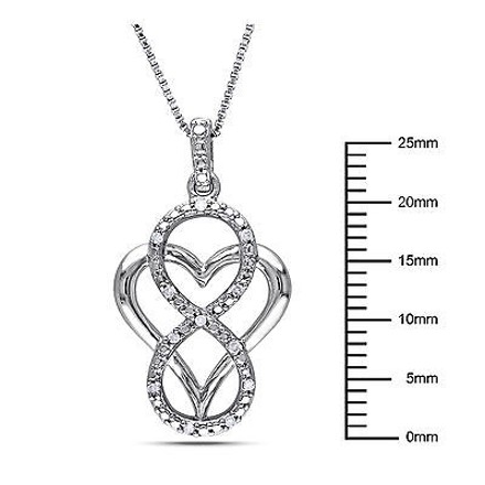 Other Sterling Silver Diamond Heart Love Swivel Infinity Crossover Pendant Necklace