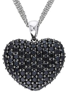Sterling Silver 2 35 Ct Black Spinel Heart Love Pendant Necklace