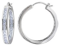 Other Sterling Silver 6 14 Ct Tgw Aquamarine Hoop Earrings