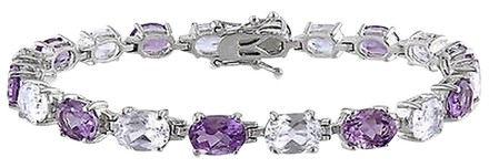 Other Sterling Silver 19 34 Ct Tgw Amethyst White Sapphire Bracelet 7.25 Inch