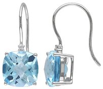 Other 10k White Gold Diamond And 10 12 Ct Sky Blue Topaz Shepard Hook Earrings