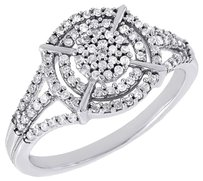 Diamond Round Cocktail Ring Ladies 10k White Gold Pave Designer Fashion 0.35 Tcw