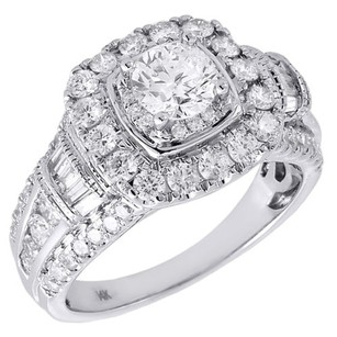 Diamond Solitaire Engagement Ring Ladies 14k White Gold Round Cut Halo 2 Tcw.
