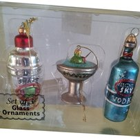 3 pc. glass Cocktail Ornament Set