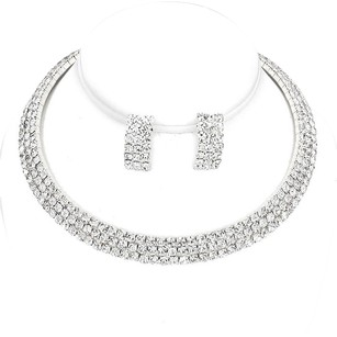 Other 3-Row Rhinestone Choker Necklace