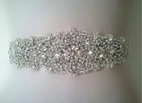 3 Yards White Satin Ribbon Beaded Portion Is 2 By 16