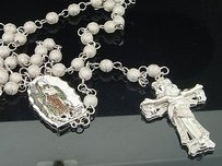 3d Beaded Diamond Chain Lady Guadalupe Rosary Macrame Mens .925 Sterling Silver