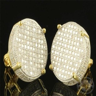 3d Tone Sleek 14k Yellow Gold Finish Over Silver 925 Mens Drum Stud Earring Cz