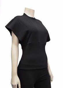 4th Avenue Black French Terry Wide Band Capped Sleeve Top 200764e