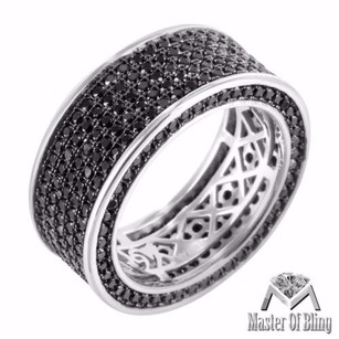 925 Silver Eternity Ring Black Lab Diamonds 360 Ice 14k White Gold Tone Mens