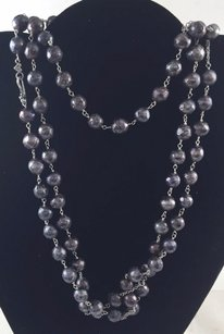 .925 Sterling Silver Purple Beaded Chain Necklace 24
