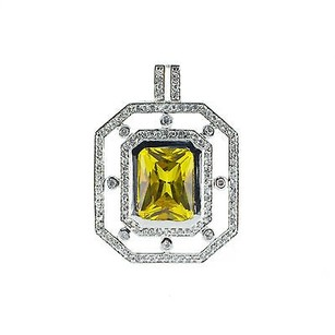 925 Sterling Silver Yellow White Cubic Zirconia Womens Pendant