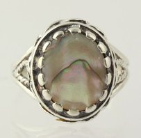 Abalone Cocktail Ring - Sterling Silver Womens 14 Fashion Sea Shells Ocean