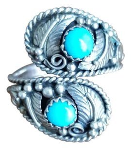 Adjustable sterling silver and turquoise ring
