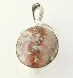Other Agate Pendant - Sterling Silver 925 Marbled Oval Stone Womens Chunky