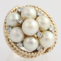 Other Akoya Pearl Diamond Cluster Cocktail Ring - 14k Yellow White Gold Natural
