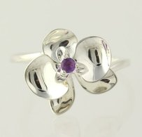 Other Amethyst Flower Ring - Sterling Silver Solitaire 925 Womens Band
