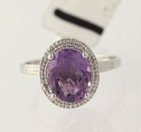 Other Amethyst Solitaire Ring 925 Sterling Silver Band Womens Cocktail 7.25