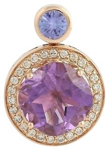 Other Amethyst Tanzanite Diamond Pendant - 14k Rose Gold Genuine 3.75ctw