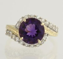 Amethyst White Zircon Cocktail Ring - 10k Yellow White Gold Fine 4.40ctw