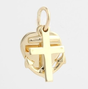 Other Anchor Cross Heart Charm - 14k Yellow Gold Polished Good Luck