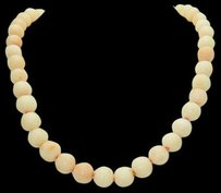 Other Angel Skin Light Pink Coral Bead 14k Gold Lock 24 Necklace N272