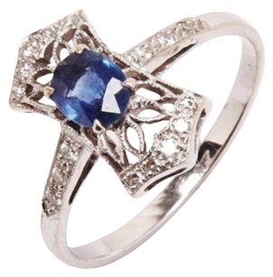 Other Anitque Style 55pt Sapphire And Pave Diamond 18k White Gold Ring